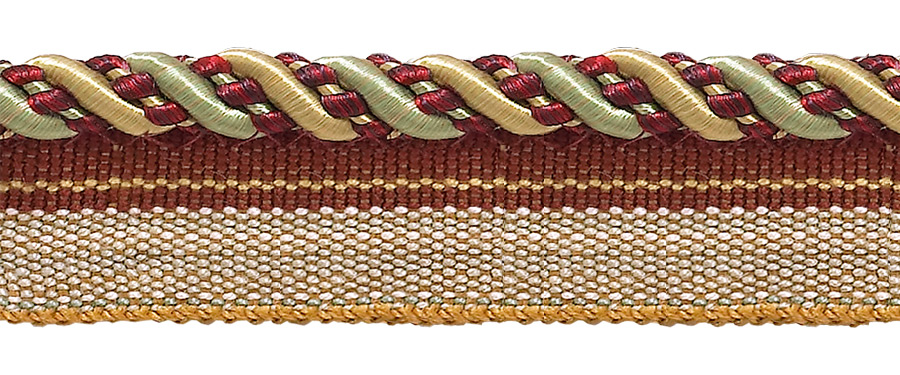 """DecoPro Medium Gold, Wine , Mint Green 4/16"""" Imperial II Lip Cord Style# 0416I2 HOLIDAY SPLENDOR - 3752 (Sold by The Yard) at Sears.com"""