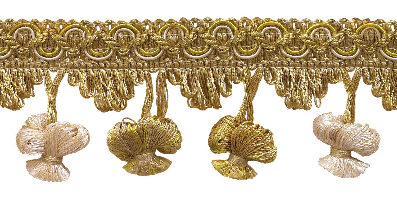 2 Rosette Tassel Fringe Trim Ivory
