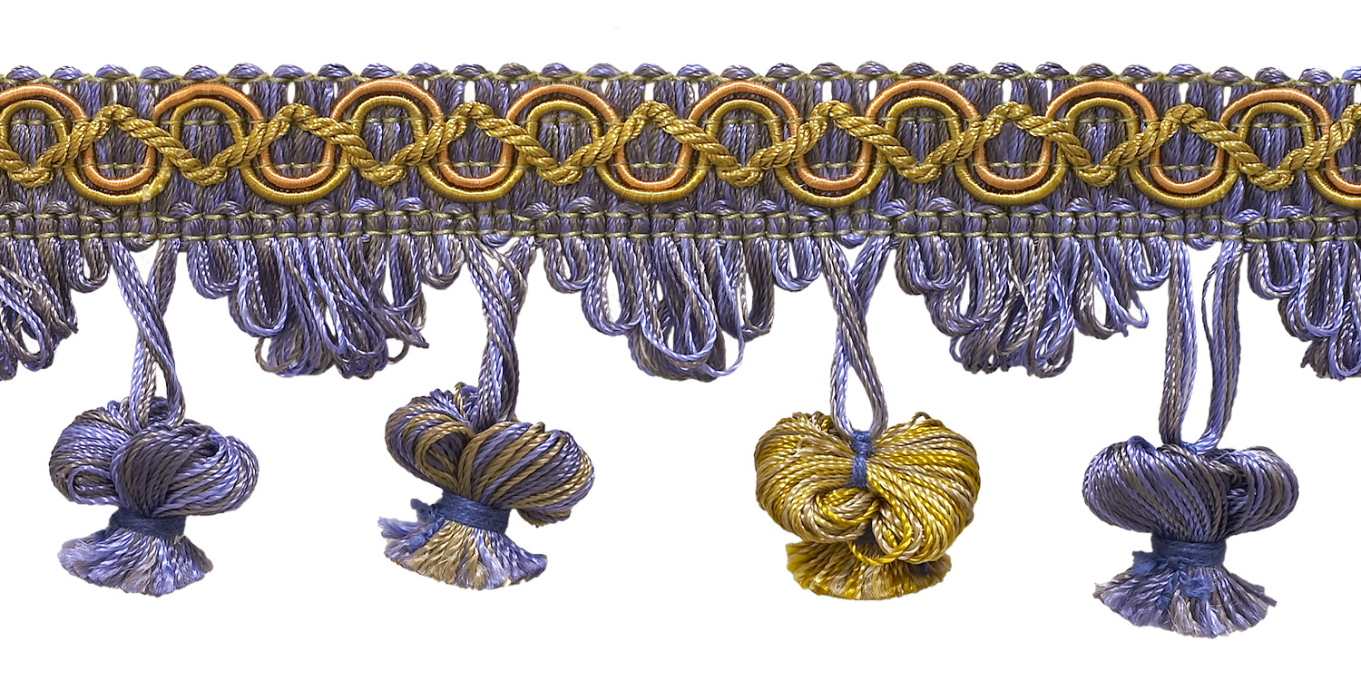 """DecoPro Lavender Blue 2"""" Imperial II Onion Tassel Fringe Style# NT2503 Color: PERIWINKLE GOLD - 5080 (Sold by The Yard) at Sears.com"""